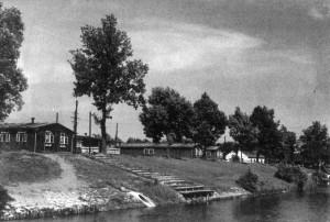 internační středisko na břehu Malše v Českých Budějovicích. Dříve tábor Říšské pracovní služby.