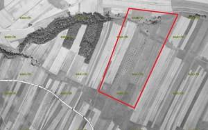 Přibližná plocha budoucího cvičiště na leteckém snímku z roku 1946